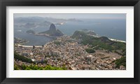 Framed Elevated view of Botafogo neighborhood and Sugarloaf Mountain from Corcovado, Rio De Janeiro, Brazil
