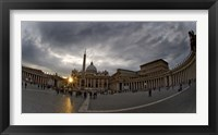 Framed Basilica in the town square at sunset, St. Peter's Basilica, St. Peter's Square, Vatican City