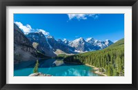 Framed Moraine Lake at Banff National Park in the Canadian Rockies near Lake Louise, Alberta, Canada