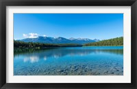 Framed Patricia Lake with mountains in the background, Jasper National Park, Alberta, Canada