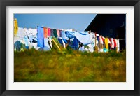 Framed Laundry hanging on the line to dry, Michigan, USA