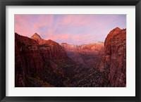 Framed Zion Canyon at sunset, Zion National Park, Springdale, Utah, USA