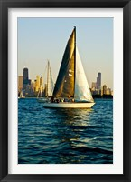 Framed Sailboat in a lake, Lake Michigan, Chicago, Cook County, Illinois, USA