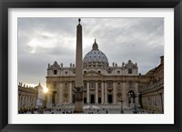 Framed Obelisk in front of the St. Peter's Basilica at sunset, St. Peter's Square, Vatican City