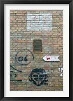 Framed Art and signs painted on a brick wall, Dashanzi Art District, Dashanzi, Chaoyang District, Beijing, China