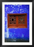 Framed Blue Temple wall detail, Mingshan, Fengdu Ghost City, Fengdu, Yangtze River, Chongqing Province, China