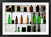 Framed Bottles displayed at foreigner bar, Old Town, Dali, Yunnan Province, China