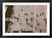 Framed Aerial view of tourists viewed from Notre Dame Cathedral, Paris, Ile-de-France, France