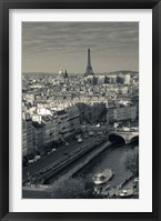 Framed City with Eiffel tower in the background viewed from Notre Dame Cathedral, Paris, Ile-de-France, France