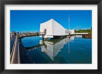 Framed Reflection of a memorial in water, USS Arizona Memorial, Pearl Harbor, Honolulu, Hawaii, USA