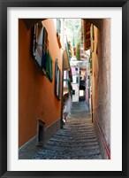 Framed Town steep street, Varenna, Como, Lombardy, Italy
