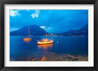 Framed Boats anchored in the Lake Como, Varenna, Lombardy, Italy