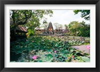Framed Water lilies in a pond at the Pura Taman Saraswati Temple, Ubud, Bali, Indonesia