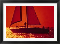 Framed Silhouette of a sailboat in a lake, Lake Michigan, Chicago, Cook County, Illinois, USA