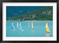 Framed Windsurfers on the lake, Lac de Sainte Croix, Sainte-Croix-Du-Verdon, Provence-Alpes-Cote d'Azur, France
