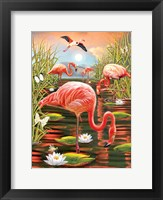 Framed Flamingos-Vertical