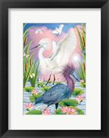 Framed LIttleblue And Snowy Herons