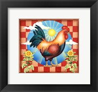 Framed Morning Glory Rooster II