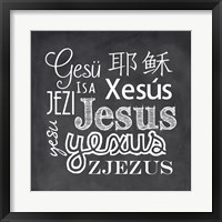 Framed Jesus in Different Languages Chalkboard