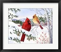 Framed Cardinals And Hemlock Tree