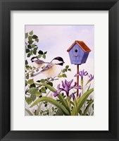 Framed Chickadees And Iris