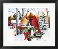 Framed Christmas Cardinals