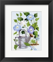 Framed Watering Can And Morning Glories