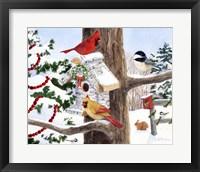 Framed Winter Birdhouse And Cardinals