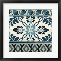 Non-Embellished Indigo Frieze I Framed Print