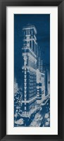 Times Square Postcard Blueprint Panel Framed Print