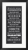 Framed Watch Your Character It Becomes Your Destiny