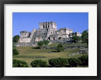 Framed Ancient building ruins, El Castillo, Tulum Mayan