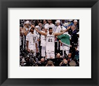 Framed Tim Duncan Celebrates Winning Game 5 of the 2014 NBA Finals