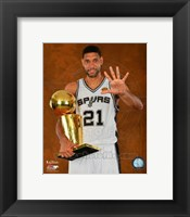 Framed Tim Duncan with the NBA Championship Trophy Game 5 of the 2014 NBA Finals