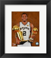 Framed Kawhi Leonard with the NBA Championship & MVP Trophies Game 5 of the 2014 NBA Finals