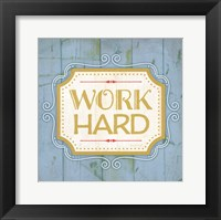 Work Hard - blue Framed Print