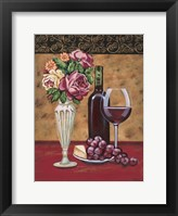 Framed Vintage Flowers & Wine I