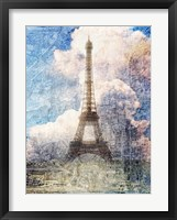Framed Distressed Eiffel Tower