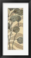 Leaves on Stripes II Framed Print