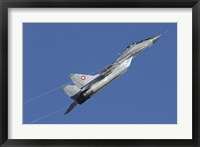 Framed Bulgarian Air Force MiG-29 aircraft taking off over Bulgaria