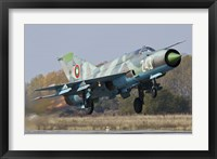 Framed Bulgarian Air Force MiG-21bis jet fighter taking off