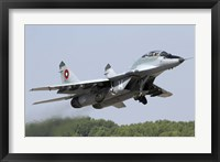 Framed Bulgarian Air Force MiG-29UB taking off from Graf Ignatievo Air Base