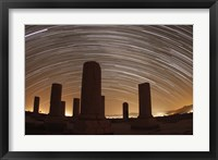 Framed Star trails above the Private Palace of Cyrus the Great, Pasargad, Iran
