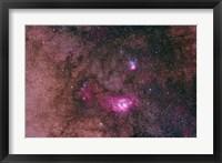 Framed Lagoon Nebula and Trifid Nebula in the constellation Sagittarius