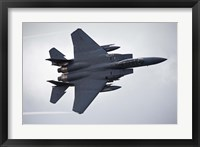 Framed F-15E Strike Eagle flying over North Wales