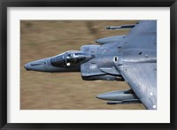 Framed Front section of a Royal Air Force Harrier GR9 flying low over North Wales