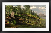 Framed Dimetrodon roams the Mid-Permian Period