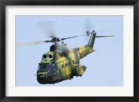 Framed Romanian Air Force IAR-330M Puma helicopter