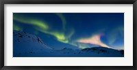 Framed Panoramic view of the Aurora Borealis over Skittendalen Valley, Troms County, Norway