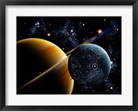 Framed Two artificial moons travelling around a gas giant devouring the natural moons